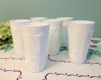 "Colony ""Harvest"" Milk Glass Cooler/Tumbler - Set of 6"