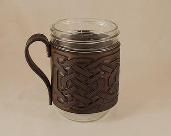 Celtic Knot Leather Mason Mug