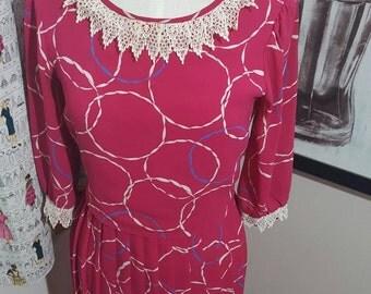 SALE:Vintage Harlequin Dress With Crochet Trim Size M