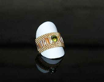 "Ring with SWAROVSKI Crystal ""Olive"""