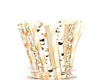 Woodland Wildflower Straws | Baby Shower | Wedding | Engagement | Birch Tree | Wood Grain | Wild Flower | Bridal Shower | Birthday Party