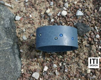 Natural Leather Bracelet with Stone Beads- Gift for Her