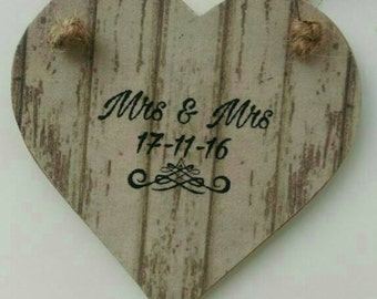 Mrs & Mrs, same sex marriage gift, gay wedding gift, keepsake gift, hanging heart, wedding gift, personalised wedding gift, anniversary gift