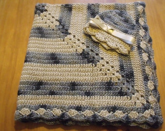 "NEW Handmade Crochet 29"" Baby Blanket and Hat/Beanie Set - Tan & Gray Variegated - A Wonderful Baby Shower Gift!! - SEE NOTE!"