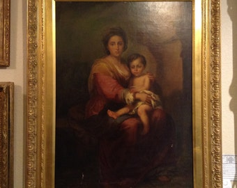 Fine Oil on Canvas Painting of a Madonna Mother and Child - Scottsdale Marketplace