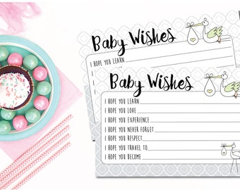 Printable  Baby Shower Game - Baby Wishes - Stork - Baby Shower Activity