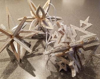 Handmade Real Wood Snowflake Ornaments in 3 shapes