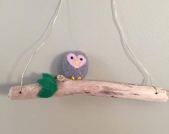 Needle Felted Hanging Owl.