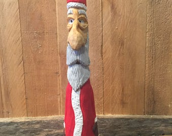 Hand Carved Wooden Santa