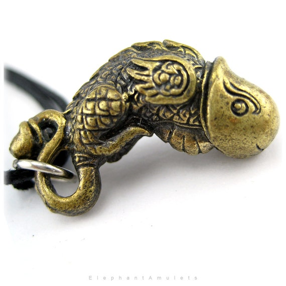 Brass Penis Necklace Fish Bird Dragon Penis Charm Amulet Penis