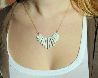 Marble Mini-fan Small Bib Necklace on a 14kt Gold-Filled Chain