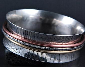 Sterling Silver Spinner Bangle Bracelet, Mixed Metal Bangles, Copper Bangle, Brass Bangle, Textured Bangle, Silver Hammered Bangle,