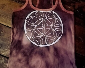Unique hippie handpainted sand brown tie dye top size S