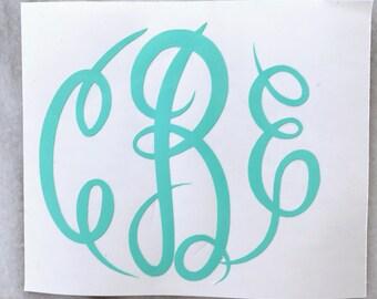 Vinyl Monogram Decal, Vinyl Monogram, Vinyl Monogram Stickers, Monogram Decal, Monogram Sticker, Monogram Car Decal, Vinyl Decal Car
