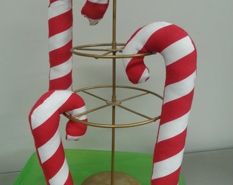 Handmade 9inch Candy Cane Catnip Kicker Toy {made with recycled materials/organic}