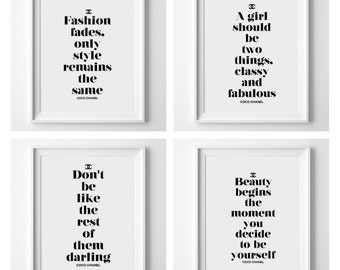 Chanel quote bundle - 4 prints for the price of 2! Fashion - beauty - coco chanel - bedroom print - dressing room decor - beauty print