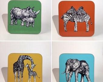 Set of Four Hand Drawn African Animal Coasters - OFFER - Elephant / Giraffe / Rhino / Zebra - Gift
