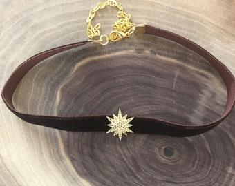 Velvet choker with pave diamond star, velvet choker, pave diamond star bead