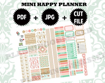 SALE 25% OFF/ MINI Happy Planner stickers / Printable stickers / mini happy planner printable stickers / Boho planner stickers