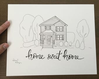 Pen and pencil drawing of home
