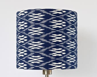 Lampshade Blue and White, Geometric Abstract Pattern, Ikat print, decorative, contemporary