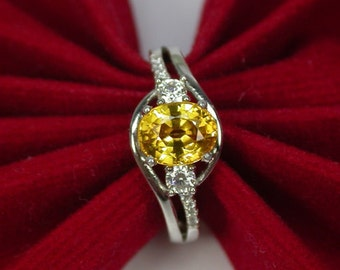 2.28 ct Wedding ring golden yellow sapphire ring silver sterling.