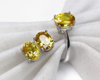 Wedding ring yellow sapphire ring silver sterling earring sapphire.
