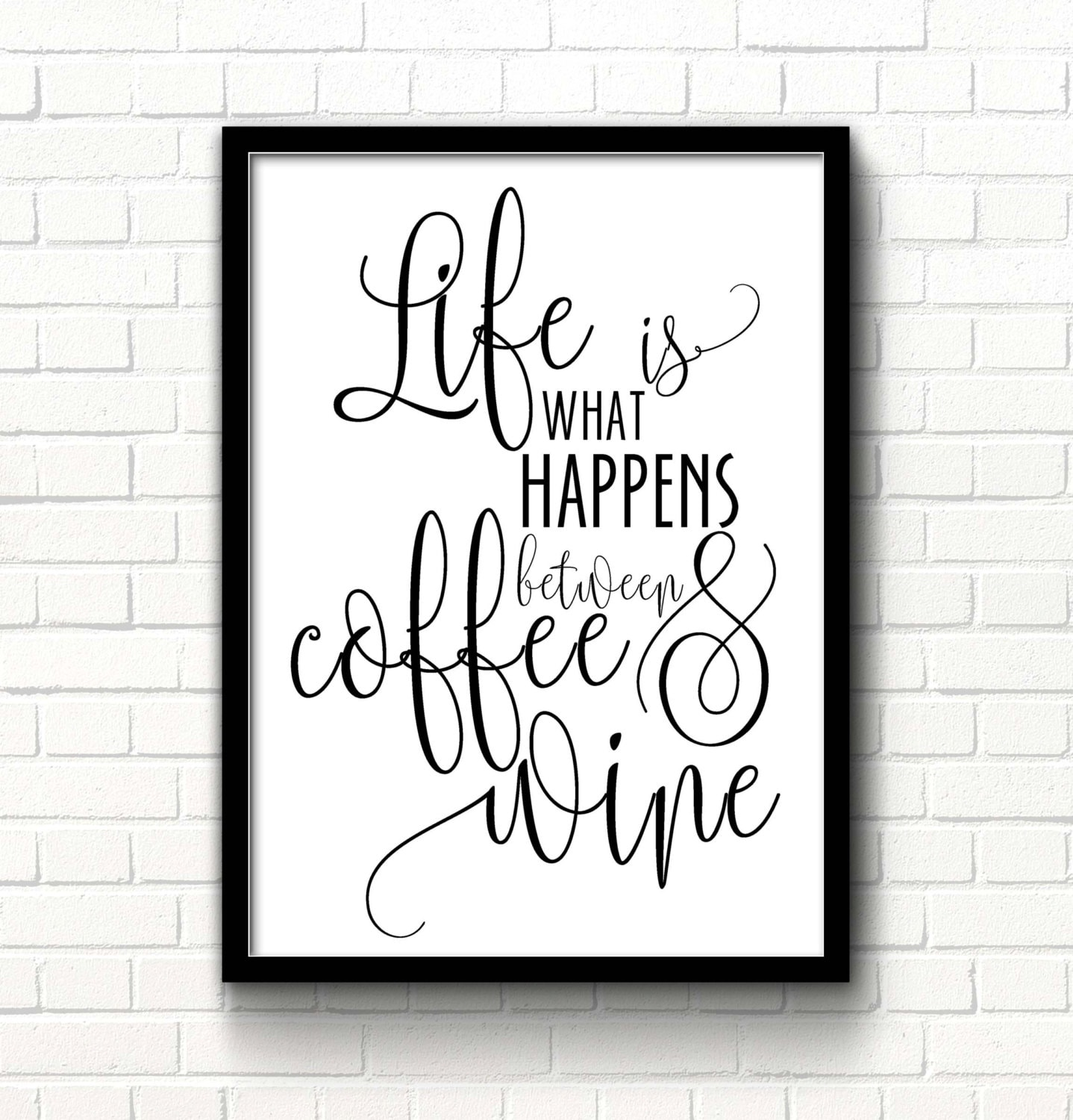 Free Printable Coffee Quotes: Wine Print Coffee Quote Wine Printable Sign Kitchen Decor Life