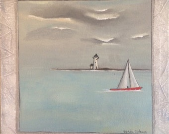 Lighthouse sailboat grey day