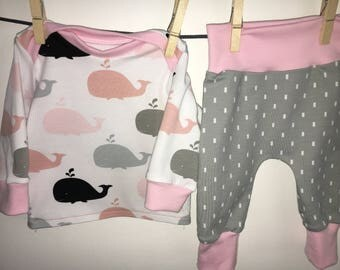 "Coming Home Set ""Whale"" white/pink/grey  Organic"