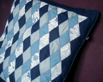 50s retro design patchwork coach pillow. Shades of blue quilted cushion cover. Swedish floral modern geometric quilt pattern pillow case.