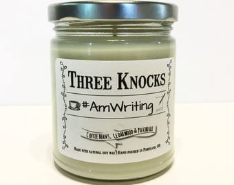 The #AmWriting Candle - Three Knocks Candles - Bookish Candle - Scented Soy Candle - 8 oz Jar