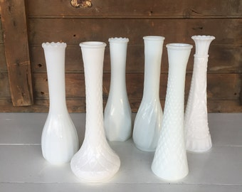6 Vintage Milk Glass Bud Vases, (C), Instant Collection, Centerpiece, White, Wedding Decor, Cottage Chic, Rustic Decor, Home Decor
