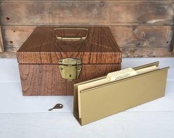 Vintage Metal File Box, (B), File Cabinet, Brown, Porta File, Industrial Decor, Farmhouse Style, Cottage Style, Office Decor, Rustic Decor