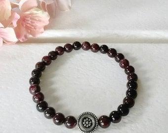 Red Garnet Bracelet, 6mm beaded bracelet