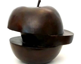Brown Patina Apple Bronzesculpture Hommage to Dalí and Magritte Bronze Sculpture Limited Edition German Artist