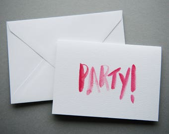 Party! Happy Birthday / Celebration Card - A6 Charity Card - Red / Pink Brush Lettered Modern Calligraphy Greeting Card