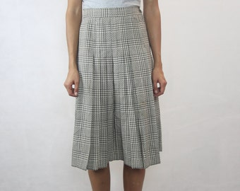 VINTAGE DALKEITH Melbourne Cream Brown Pleated Wool 70s Skirt Size XS-S