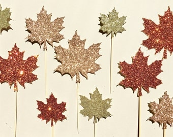 Leaf Cupcake Toppers | Leaves Cupcake Topper | Glitter Cupcake Toppers | Harvest Fall Party Decoration | Tree Fall Decor