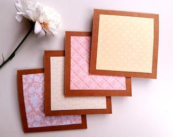 Set of 4 mini notecards set// mini note cards// blank notecards// blank cards// mini cards // kraft cards