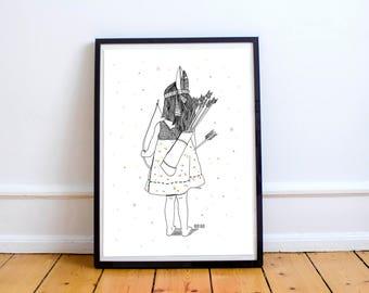 Little indian girl-artwork original, illustrations children, pictures children, decoration child, posters for children
