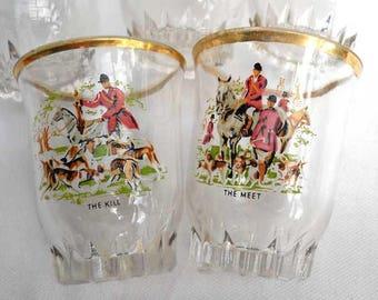 Tally Ho Shot Glasses Hunting Scenes Vintage