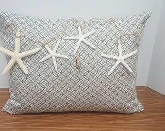 "16""x12"" Gray Nautical Starfish Decorative Throw Pillow"