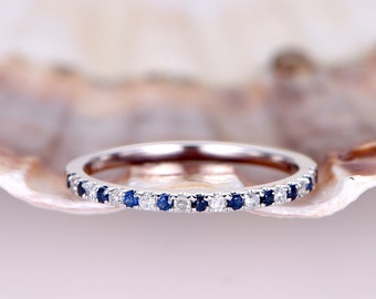 Natural sapphire diamond wedding band 14k white gold half eternity ring engagement ring stacking matching band anniversary ring thin Pave
