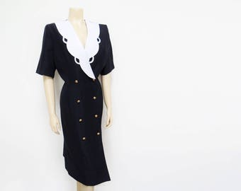 Free Shipping* Vintage Dress, UK16, US12, PinUp Curvy Girl Navy & White Buttoned Dress, 1950's, 1960's, Clothing, Ladies Dress