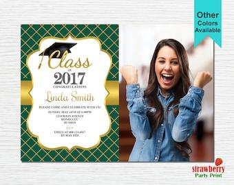 Graduation Party Invitation, Graduation Invitation, 2017 Grad, College Graduation, Green & Gold, Printable Invitation G12
