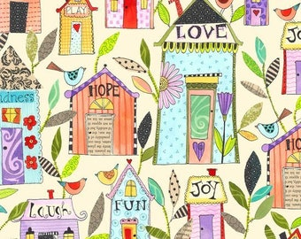 By The HALF YARD - Happy Home by Christine Graf for Quilting Treasures, #23682-E Cream Homes Main, Multi-Colored Patterned  Houses Words