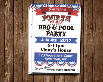 4th of July BBQ & POOL party personalized invite!