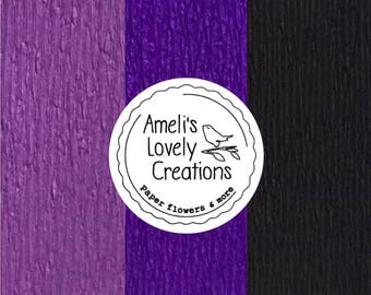 60 g Italian fine crepe paper (masking tape) - lavender, lilac, violet, purple, black - quality made in Italy by Cartotecnica Rossi.