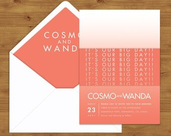 Modern Coral Gradient Belly Bands and Envelope Liners - Coral Wedding - Wedding Invitation Extras - Wedding Stationery